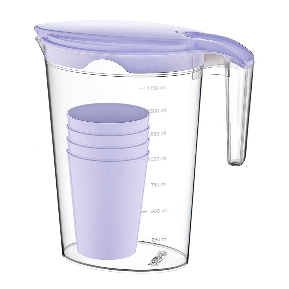 Transparent Plastic Jug With A Cover And 4 Cups In Purple Color متجر 15 وأقل