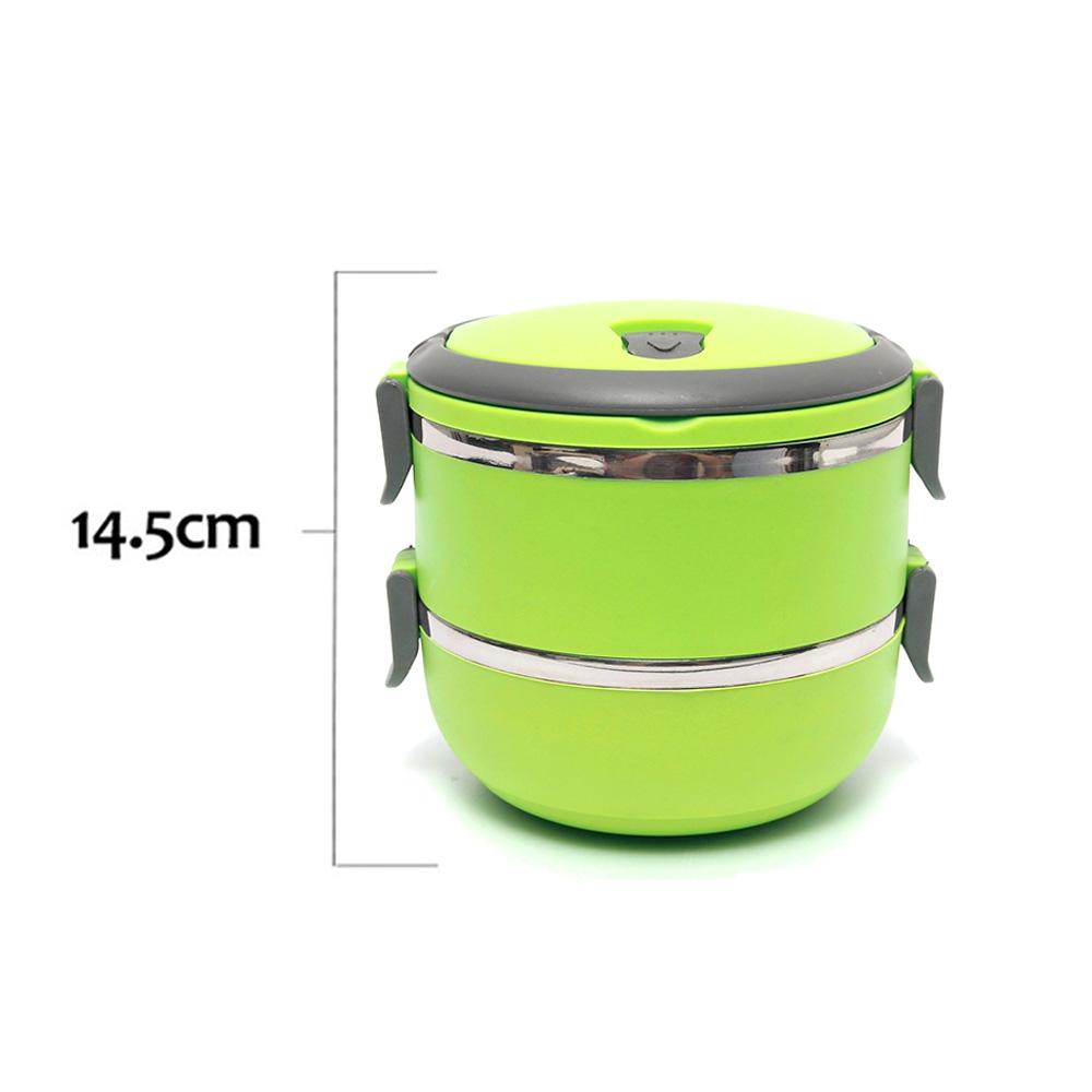 صندوق غداء بطبقتين لون أخضر 1.4 لتر متجر 15 وأقل