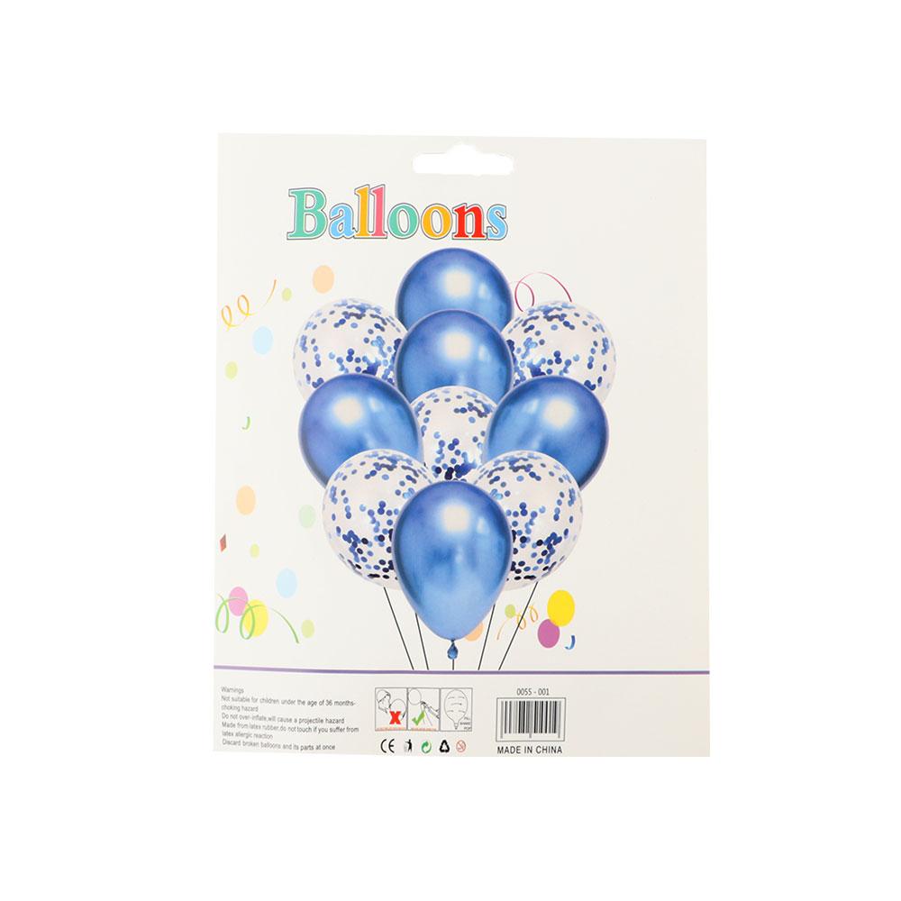 بالونات بلون الأزرق والشفاف مع قصاصات لتزيين الحفلات و المناسبات مكونة من 10 قطع متجر 15 وأقل