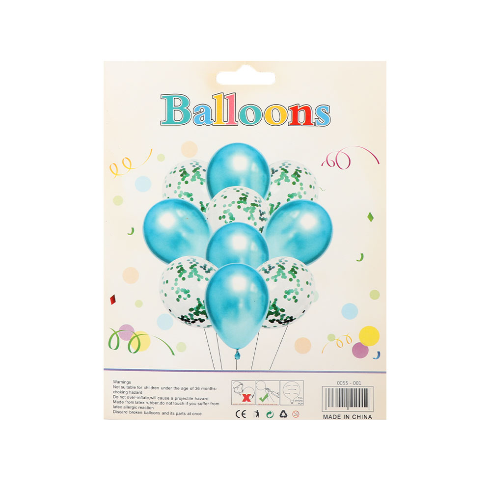 Light blue and transparent balloons with confetti to decorate parties and events, 10 pieces متجر 15 وأقل