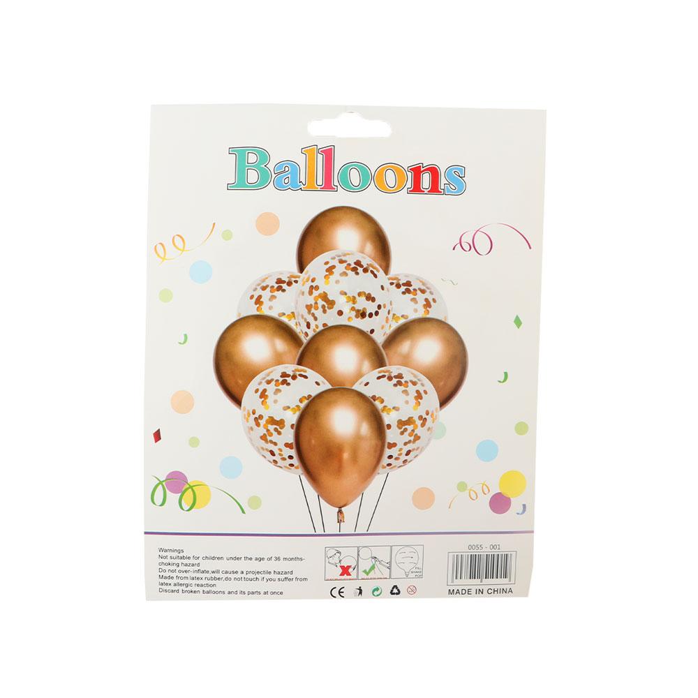 بالونات بلون الذهبي والشفاف مع قصاصات لتزيين الحفلات و المناسبات مكونة من 10 قطع متجر 15 وأقل