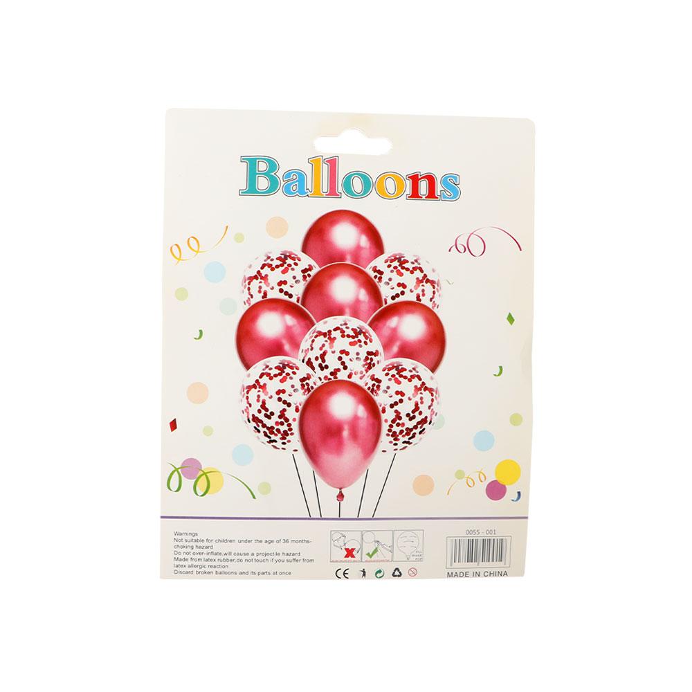 بالونات بلون احمر والشفاف مع قصاصات لتزيين الحفلات و المناسبات مكونة من 10 قطع متجر 15 وأقل
