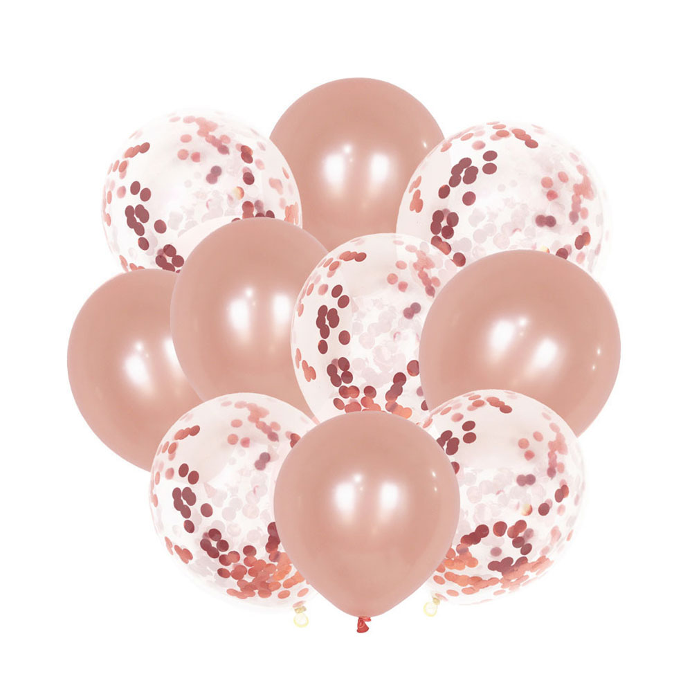 Balloons in red orange and transparent color with confetti for party and event decoration, made up of 10 pieces متجر 15 وأقل