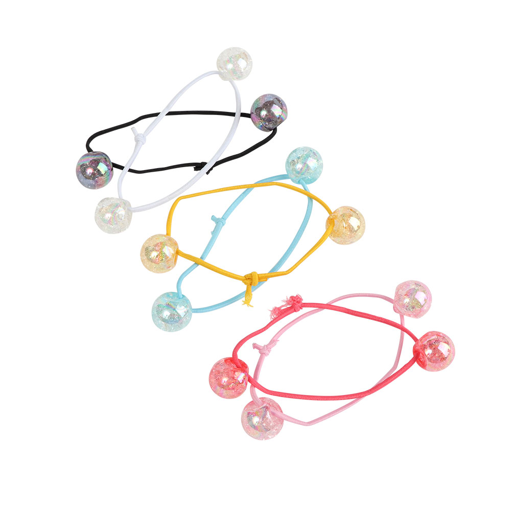 A Set Of Hair Ties Decorated With Colored Balls 6 Beads Of Different Colors متجر 15 وأقل