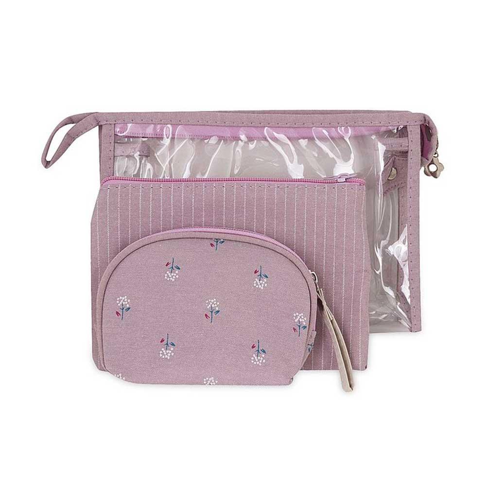 حقيبة منظمة لأدوات التجميل 3 قطع لون بنفسجي متجر 15 وأقل