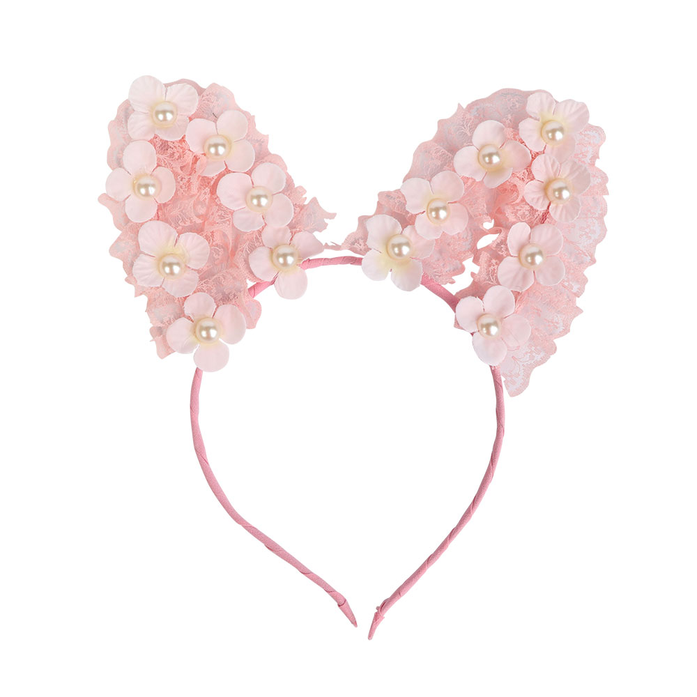 Headband With Cat Ears Design Decorated With Flowers Color Pink متجر 15 وأقل