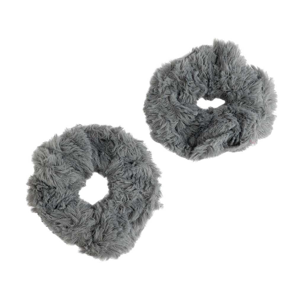 Fur Hair Ties Color Grey Two Pieces متجر 15 وأقل