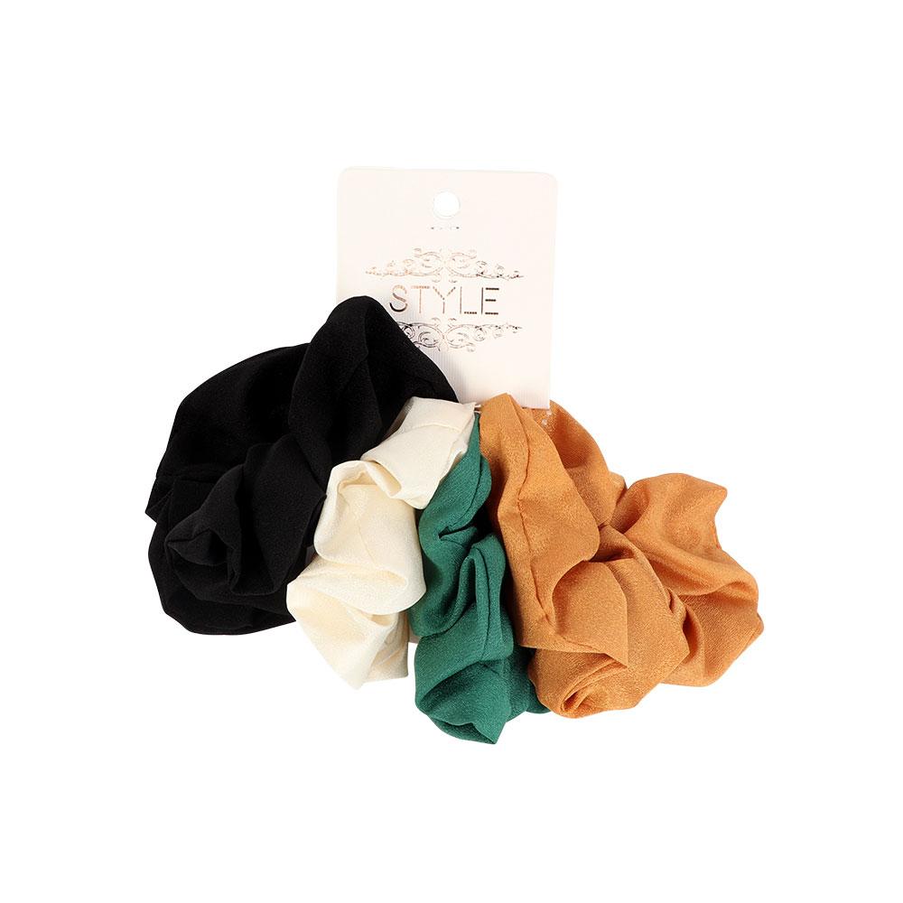 Plain Cloth Rubber Hair Ties 4-Pieces متجر 15 وأقل