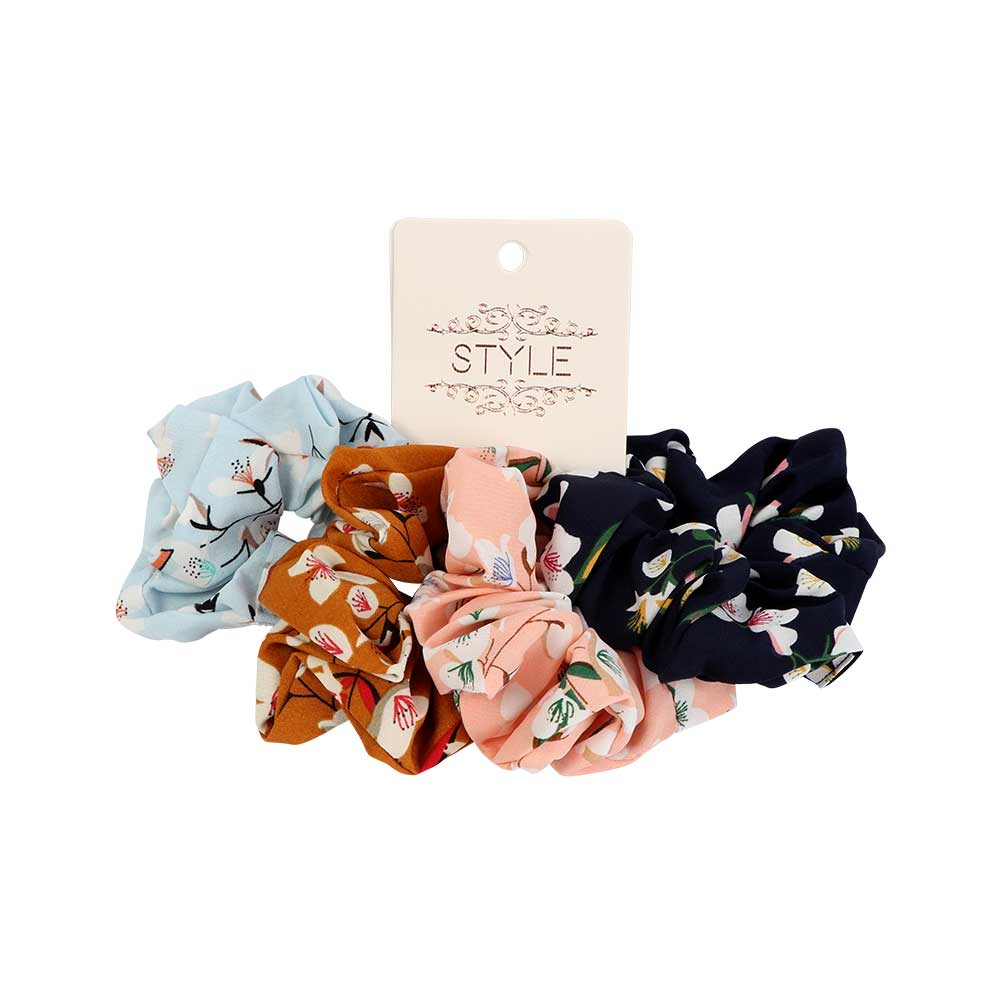 Fabric Elastic Hair Ties Decorated With White Flowers 4-Pieces متجر 15 وأقل