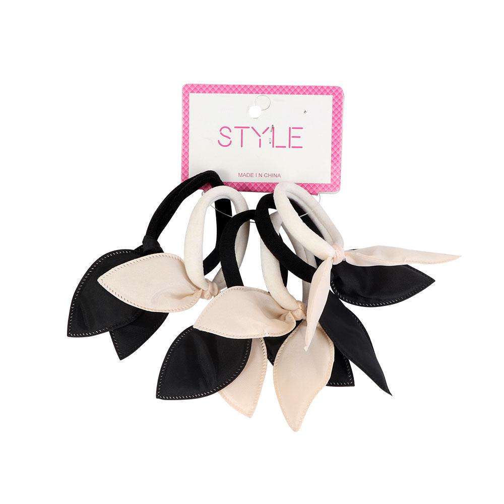 ربطات شعر مطاط قماشي باللون الأبيض و الأسود 6 قطع متجر 15 وأقل