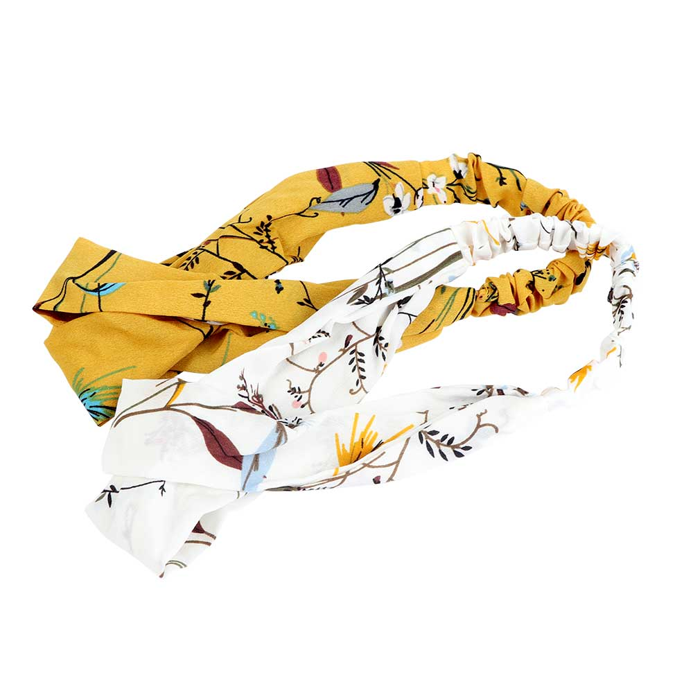 FloralPrint Headband With Yellow and White Color Background 2-Pieces متجر 15 وأقل