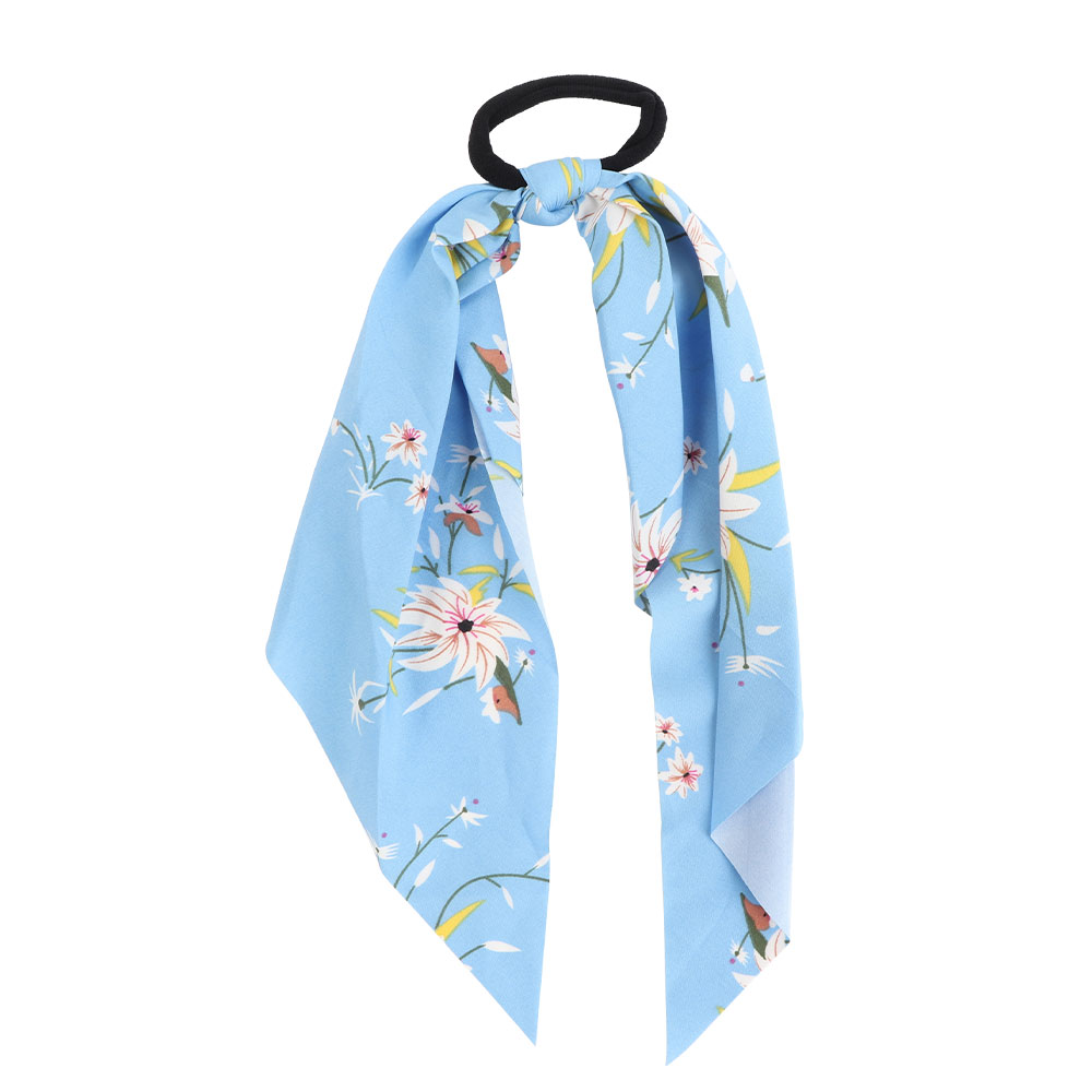 Floral Knotted Hair Tie - Blue Color Background متجر 15 وأقل