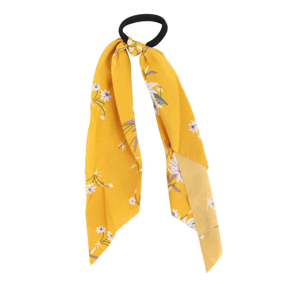 Floral Knotted Hair Tie - Yellow Color Background متجر 15 وأقل