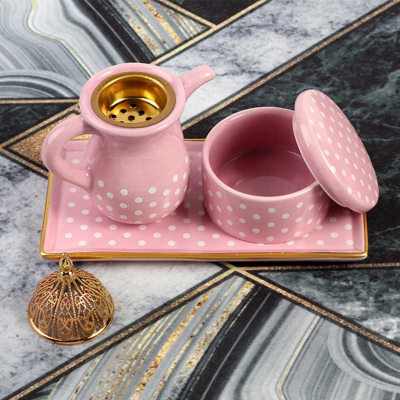 Pink Ceramic Incense Burner With an Incense Box With White Dots Decorated in Gold. متجر 15 وأقل