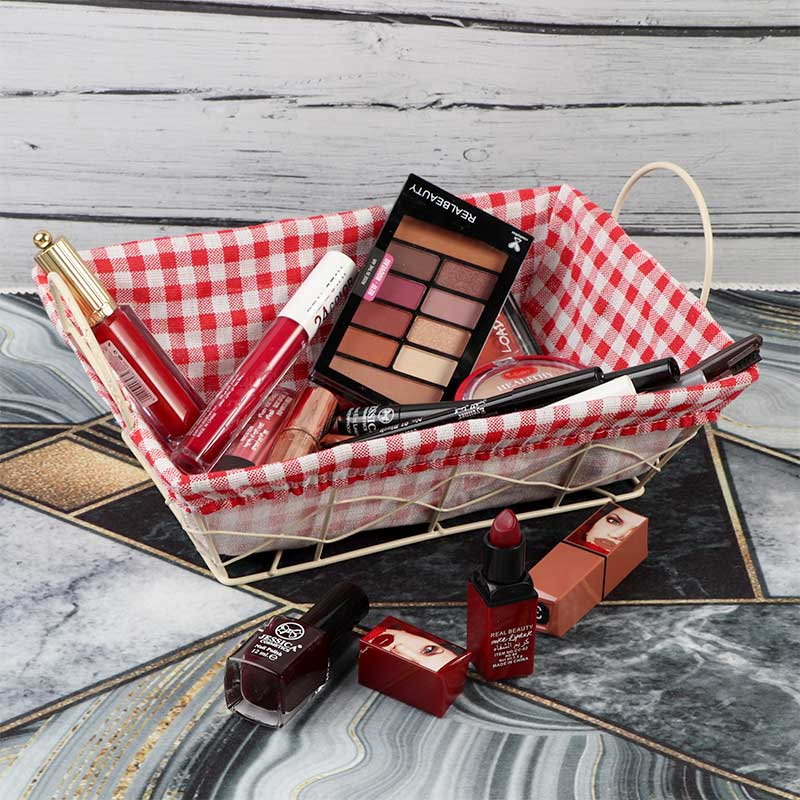 Iron Basket With Handles Padded With Red Checkered Fabric for Multiple Uses متجر 15 وأقل