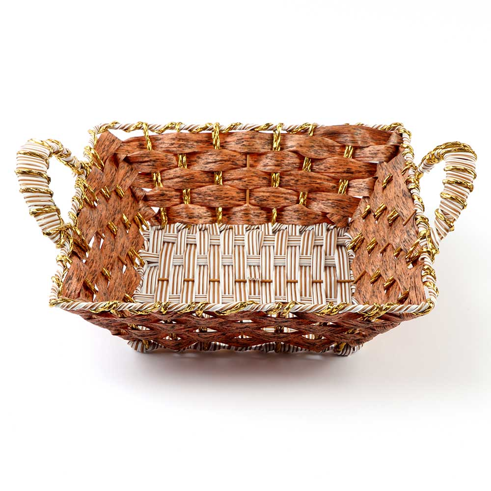 Square Basket Decorated with golden Stripes with Handle 25cm Wide متجر 15 وأقل