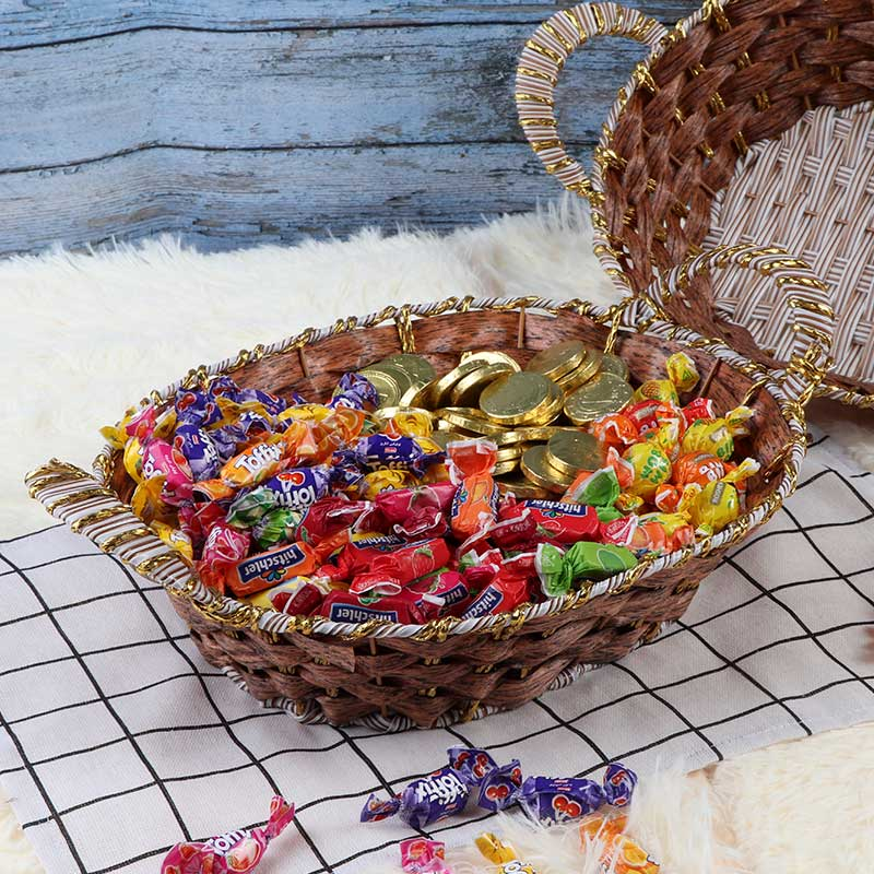 Oval Basket Decorated with copper Stripes with Handle 30cm Wide متجر 15 وأقل
