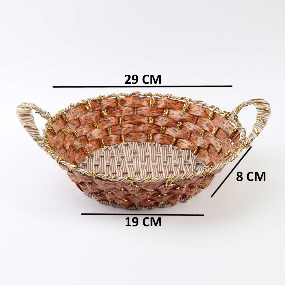 circular Basket Decorated with golden Stripes with Handle 29cm Wide - Dark brown متجر 15 وأقل