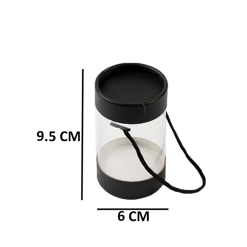 علب هدايا اسطوانية الشكل كبيرة لون أسود مع مقبض يدحبل9×6سم متجر 15 وأقل
