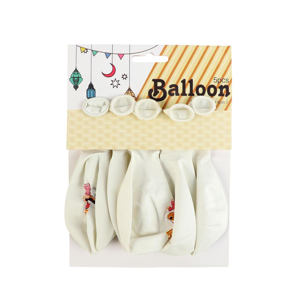 بالونات للعيد بعبارة العيد فرحة بالون الأبيض بشخصية ولد و بنت 5 قطع متجر 15 وأقل