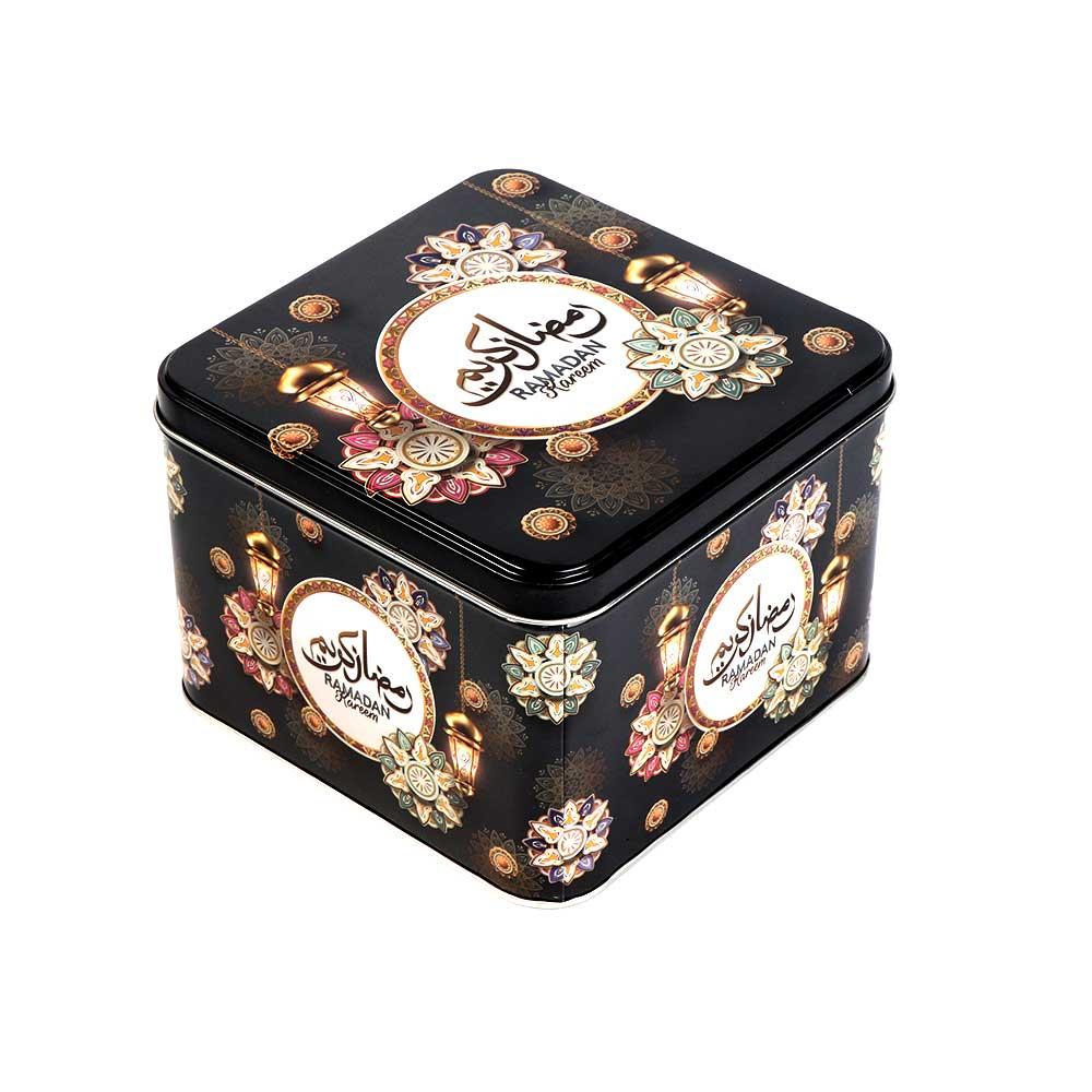 Ramadan gift box metallic square shape 15 x 15 cm black color. متجر 15 وأقل