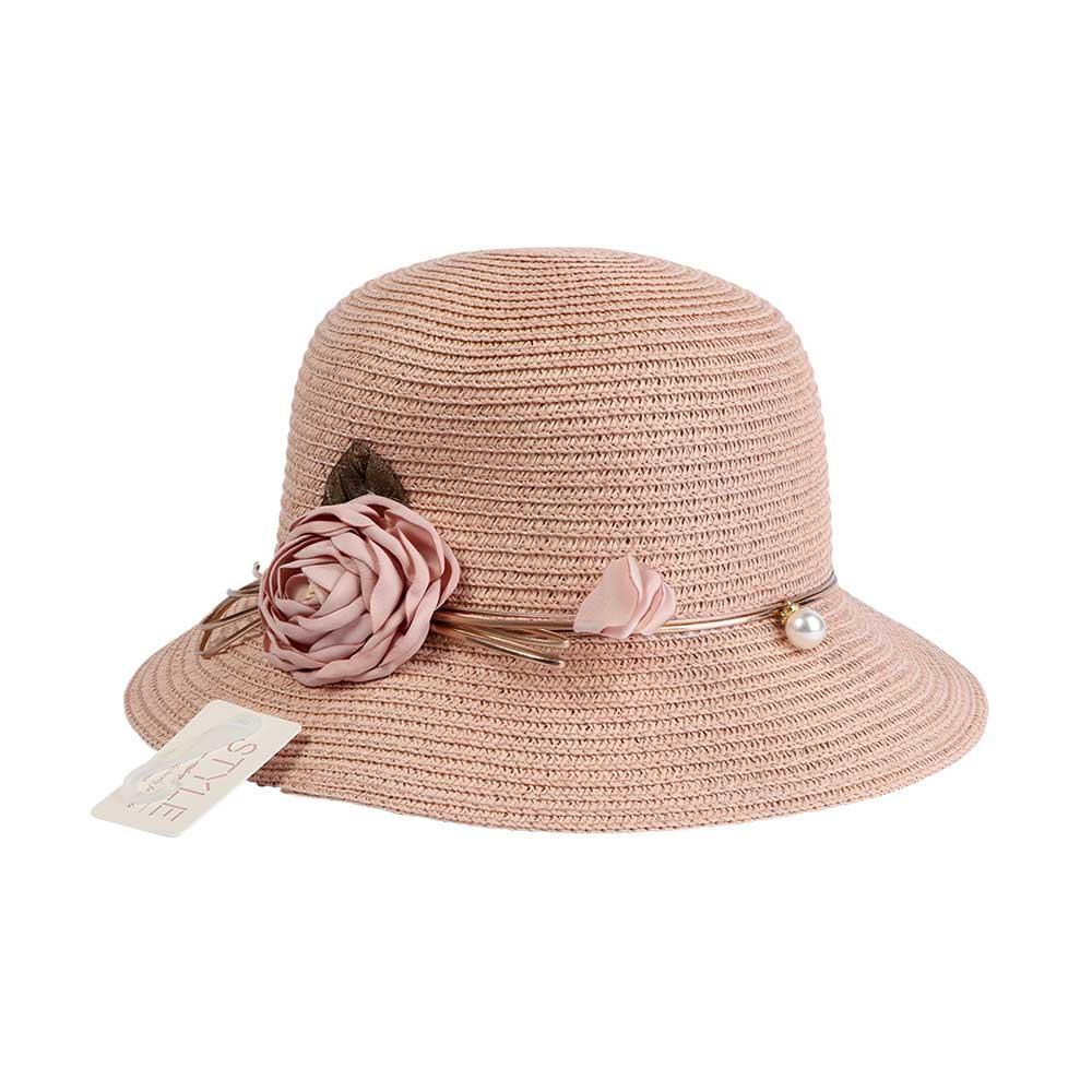 قبعة من القش مزينة بوردة و حبات لؤلؤ لون وردي متجر 15 وأقل