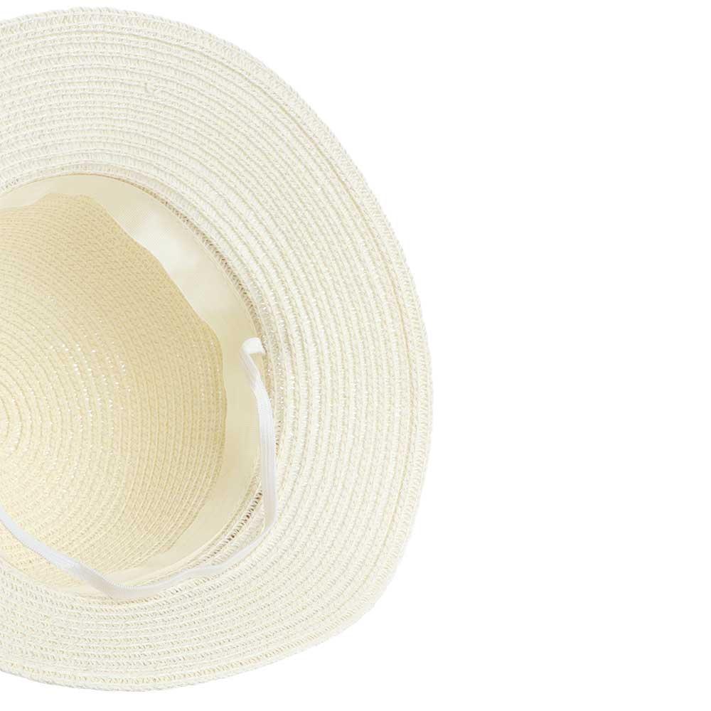 قبعة من القش مزينة بوردة و حبات لؤلؤ لون سكري متجر 15 وأقل