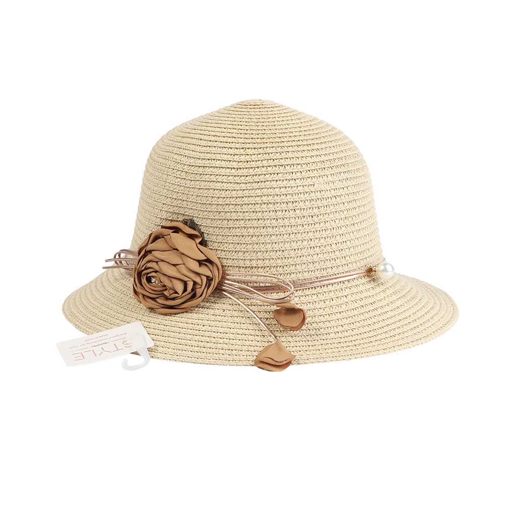 Straw Hat Decorated With A Flower And Pearl Color Beige متجر 15 وأقل