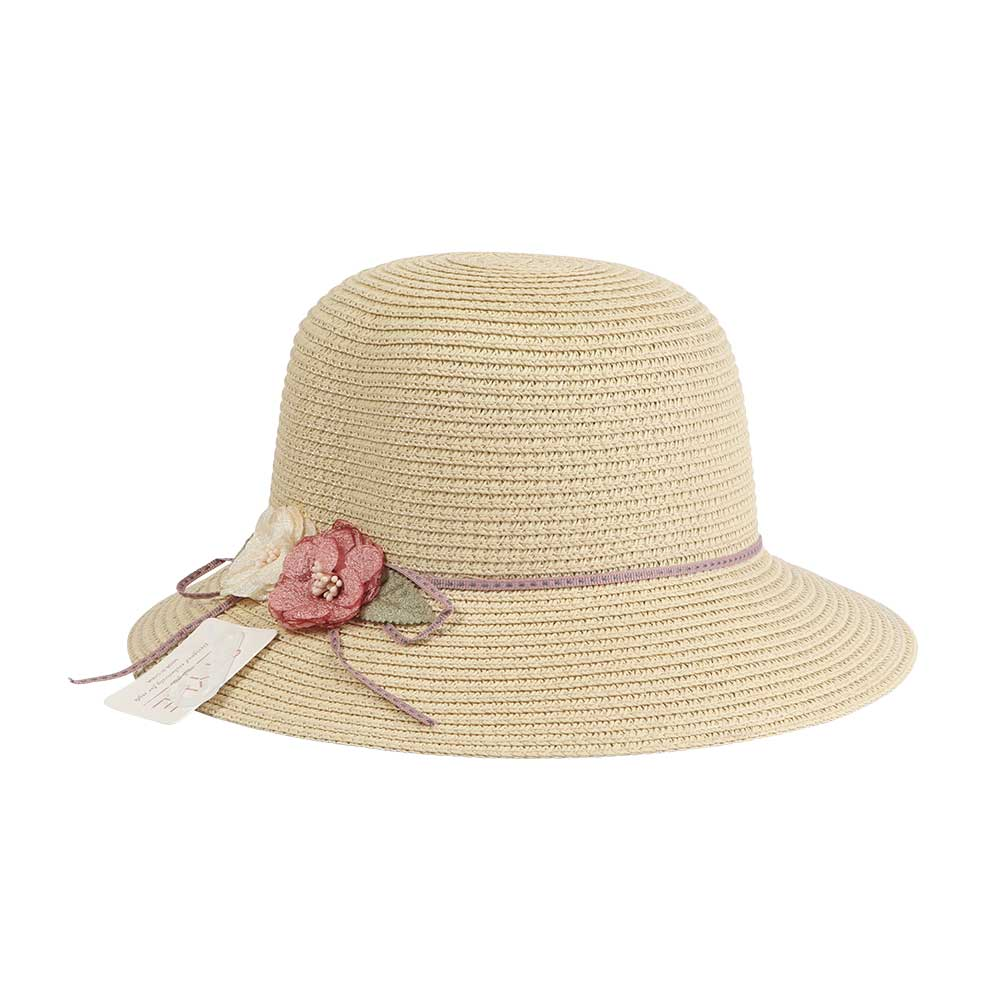 Straw Hat Decorated With A Roses And Ribbon Color Beige متجر 15 وأقل