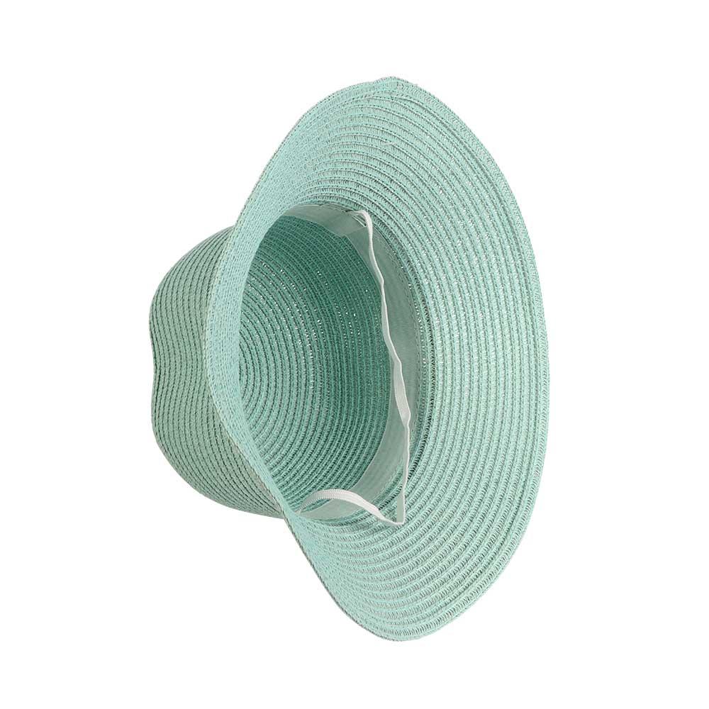 قبعة من القش مزينة بورود وشريطة لون تفاني متجر 15 وأقل