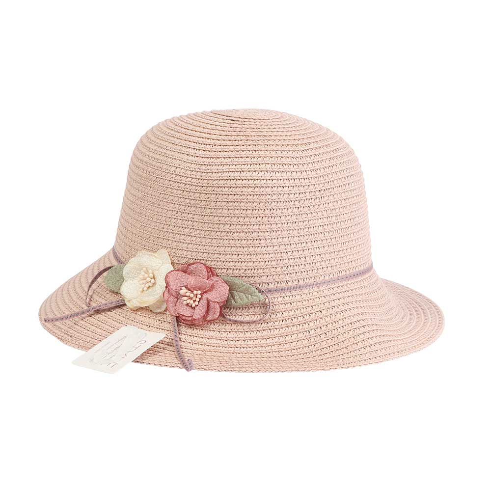 قبعة من القش مزينة بورود وشريطة لون وردي متجر 15 وأقل