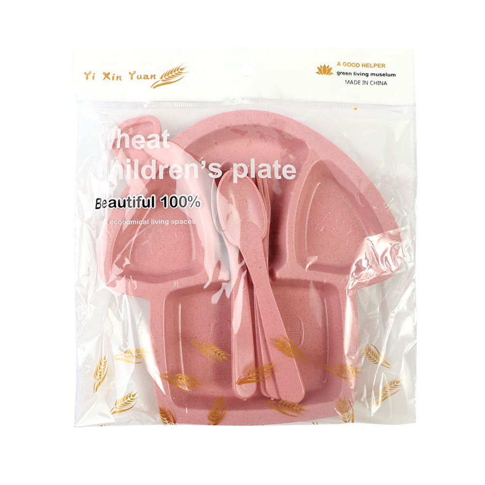 Two Set Dishes With Eating Tools for Children It is like Mushroom Shape in Pink Color متجر 15 وأقل