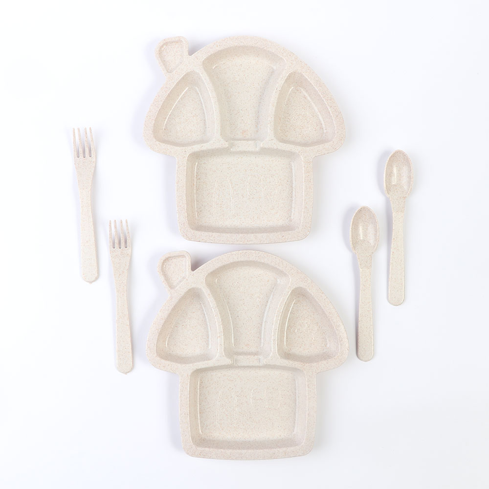 Two Set Dishes With Eating Tools for Children It is like a Mushroom Shape in beige Color متجر 15 وأقل