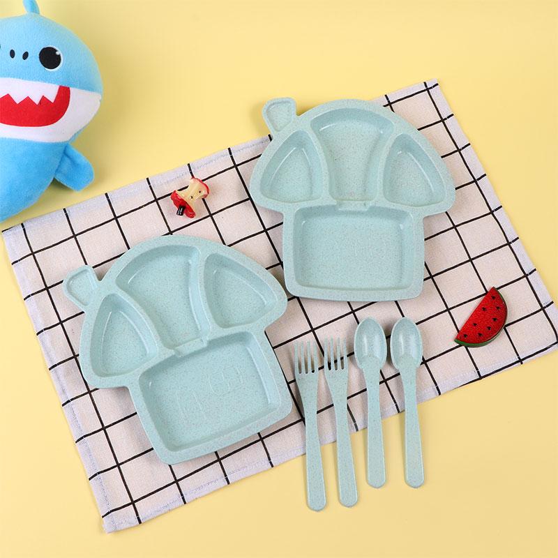 طقم طبقان مقسم مع أدوات الأكل للأطفال شكل فطر لون اخضر متجر 15 وأقل