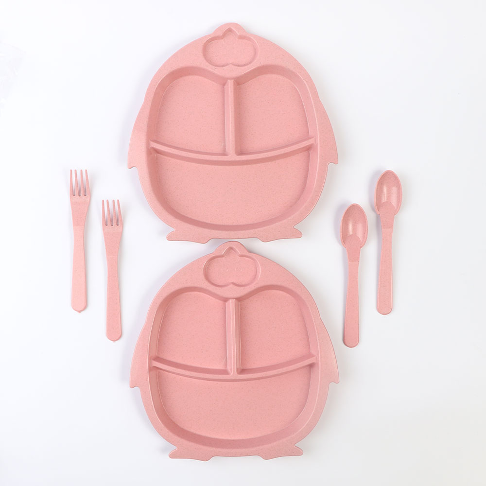 Two Set Dishes With Eating Tools for Children It is like Penguin Shape in Pink Color متجر 15 وأقل
