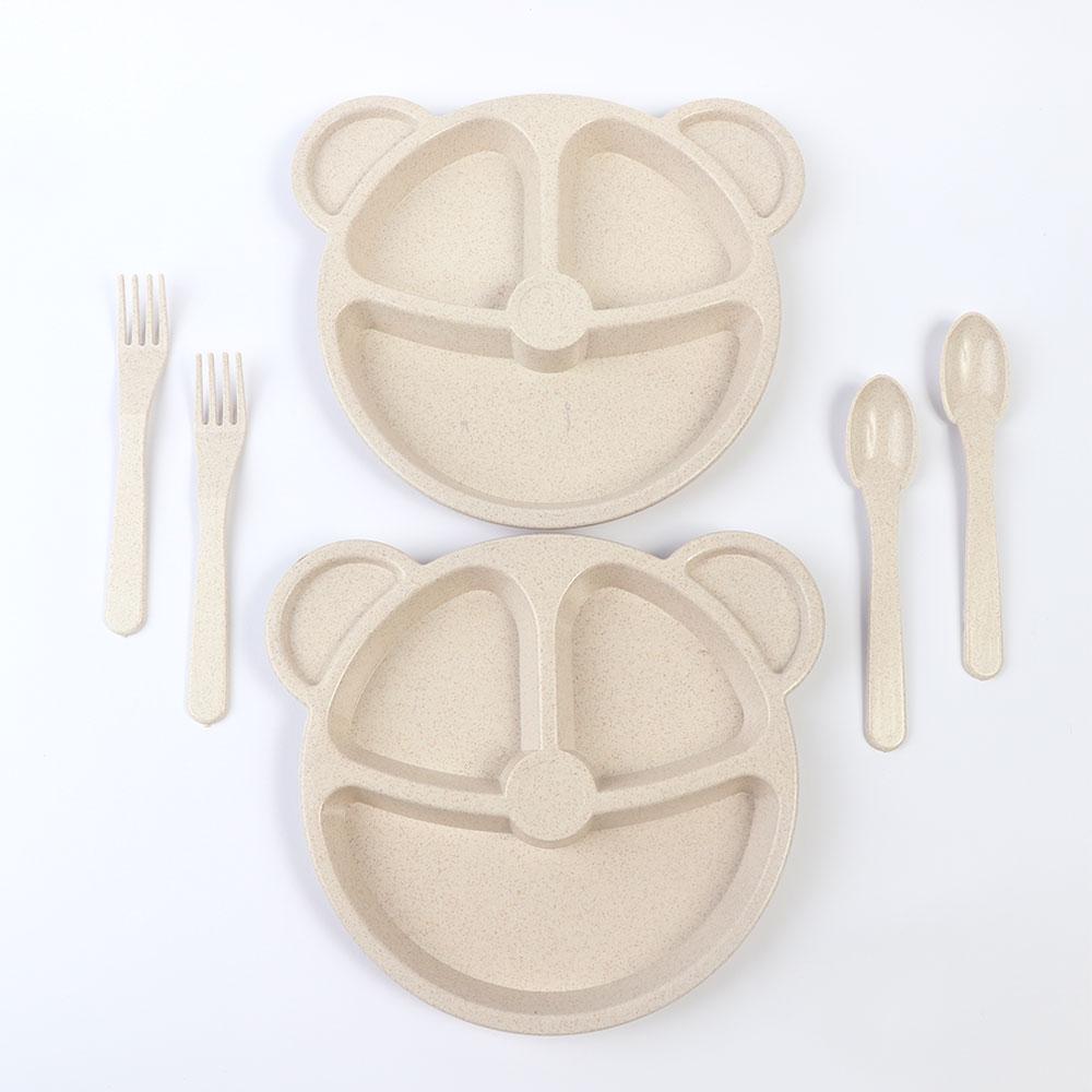طقم طبقان مقسم مع أدوات الأكل للأطفال شكل دب لون بيج متجر 15 وأقل