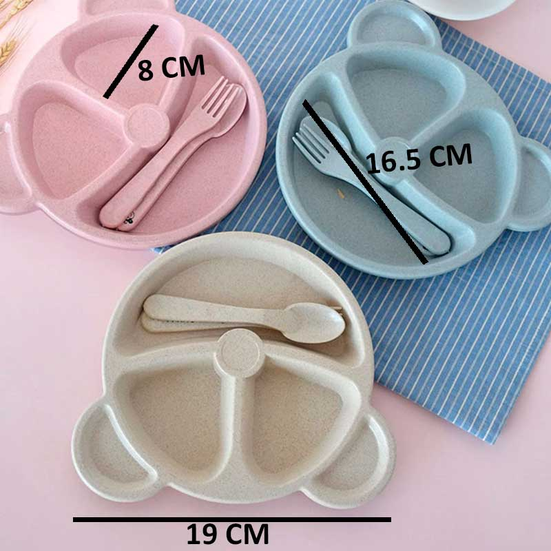 Two Set Dishes With Eating Tools for Children It is like Bear Shape in Pink Color متجر 15 وأقل