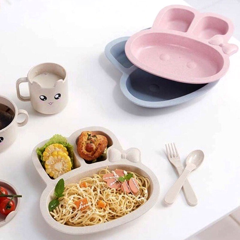 Two Set Dishes With Eating Tools for Children It is like a Rabbit Shape in Pink Color متجر 15 وأقل