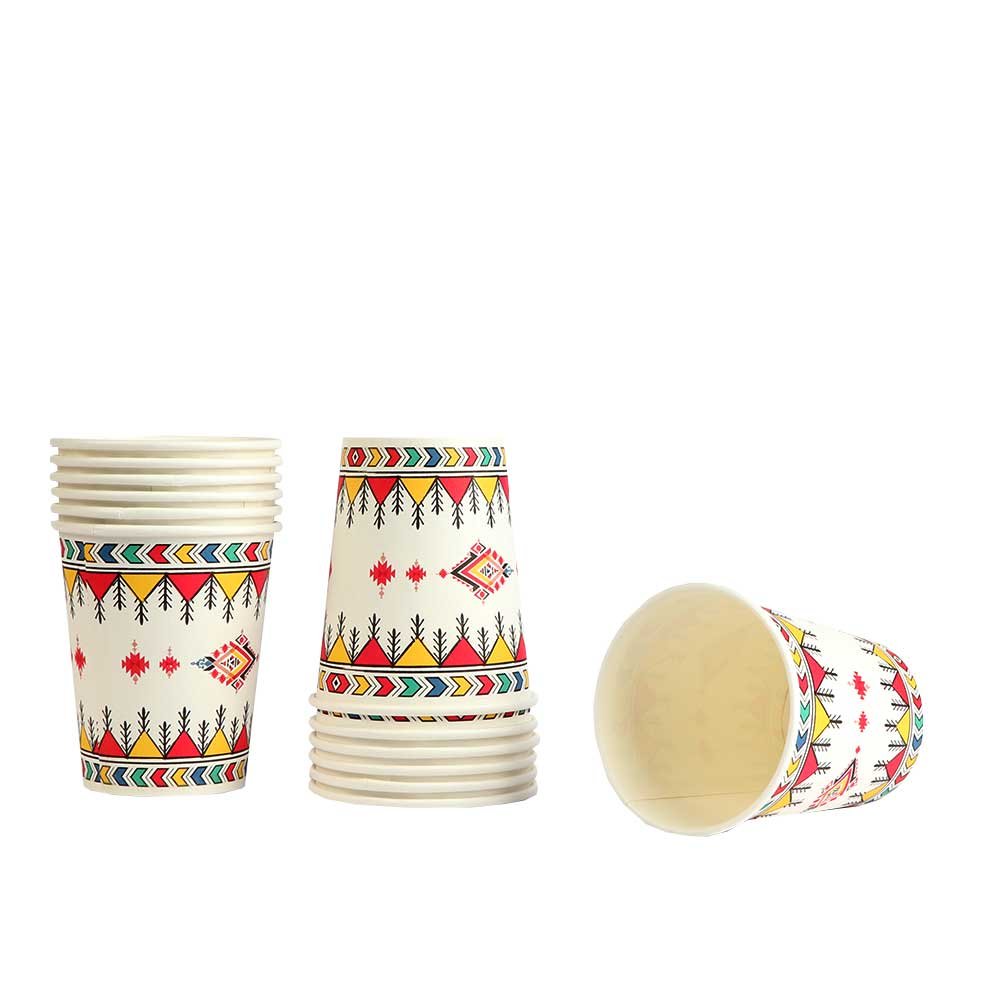 Paper Cups With Different Heritage Engraving, 60 Pieces Size 9 cm متجر 15 وأقل