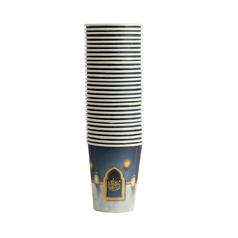 Eid Paper Cups 30-Pieces Size 9 cm In Navy And Gray Color متجر 15 وأقل