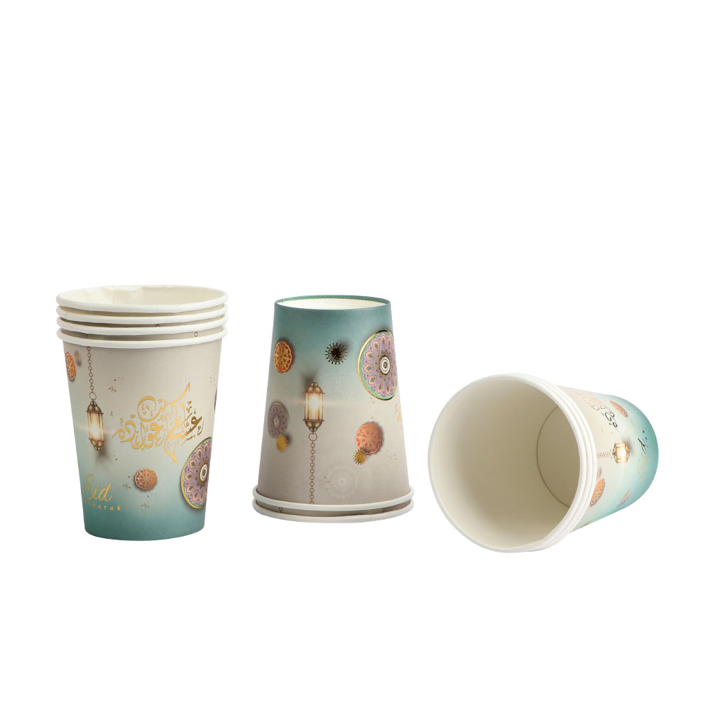 Eid Paper Cups 30-Pieces Size 9 cm In Green And White Color متجر 15 وأقل