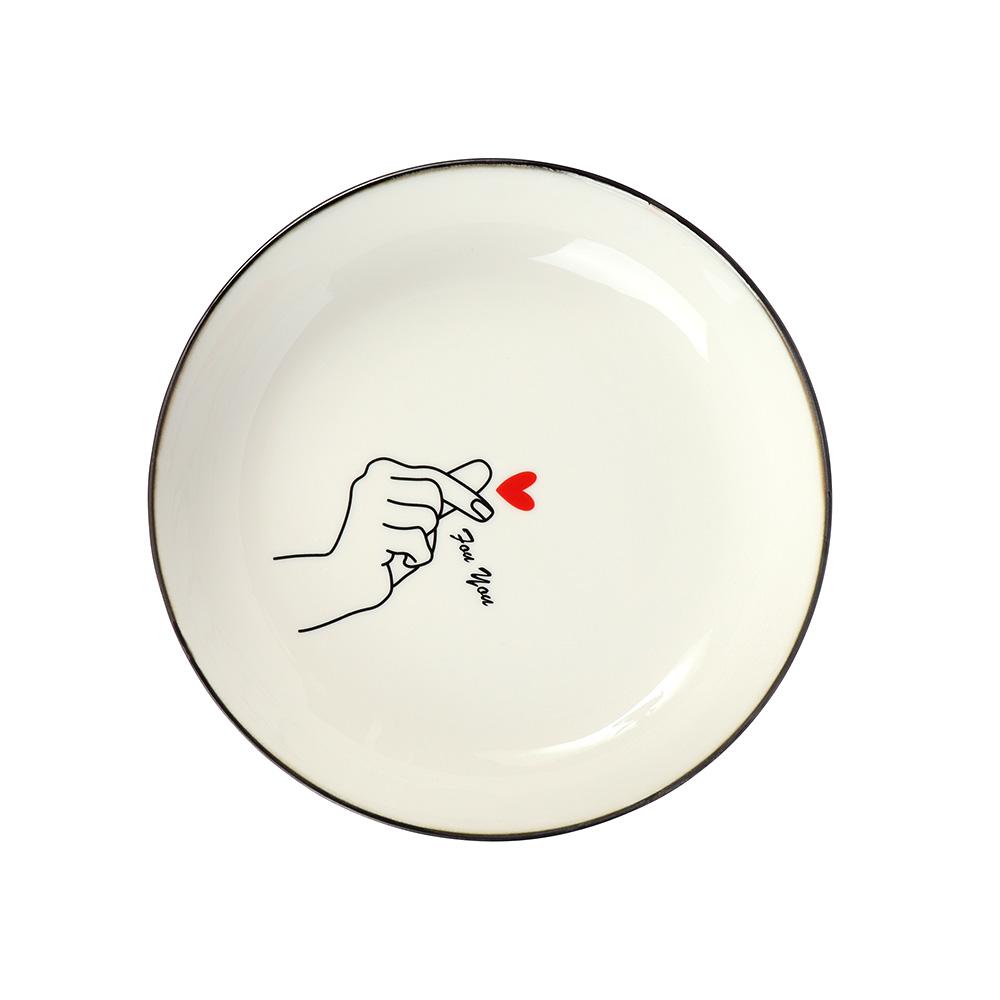 صحن سراميك برسمة يد على شكل قلب باللون الأحمر متجر 15 وأقل