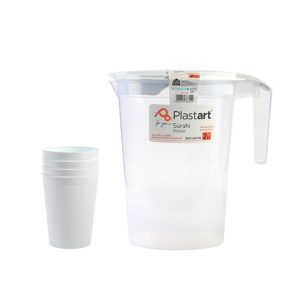 جاك بلاستيك شفاف مع غطاء و 4 كاسات لون أبيض متجر 15 وأقل