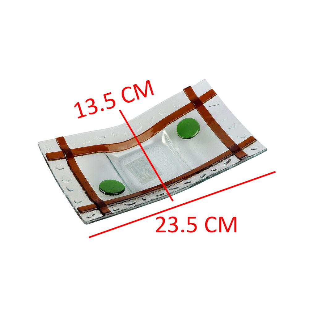 صحن زجاج مستطيل بخطوط بالوان البني مقاس 23.5×3.2 سم متجر 15 وأقل