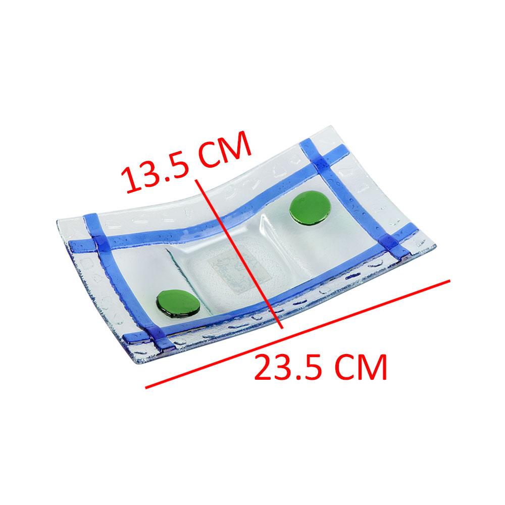 صحن زجاج مستطيل بخطوط بالوان الأزرق مقاس 23.5×3.2 سم متجر 15 وأقل