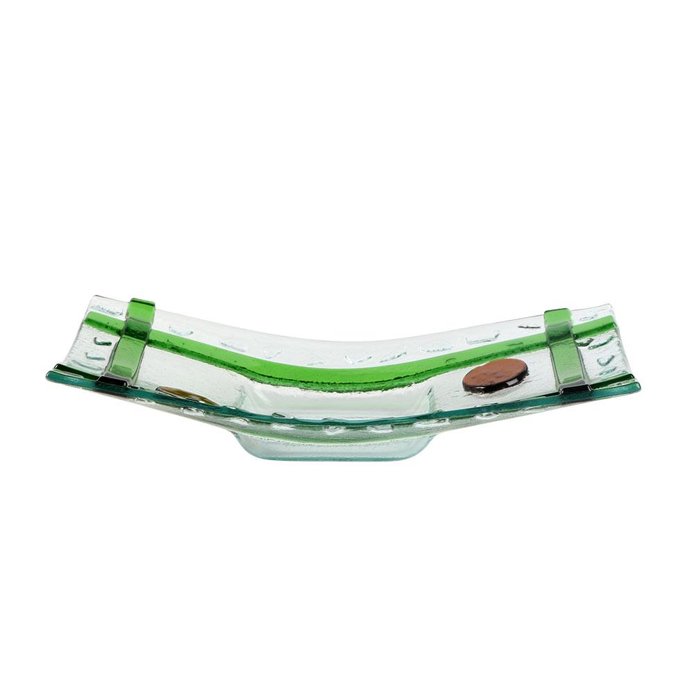 صحن زجاج مستطيل بخطوط بالوان الأخضر مقاس 23.5×3.2 سم متجر 15 وأقل