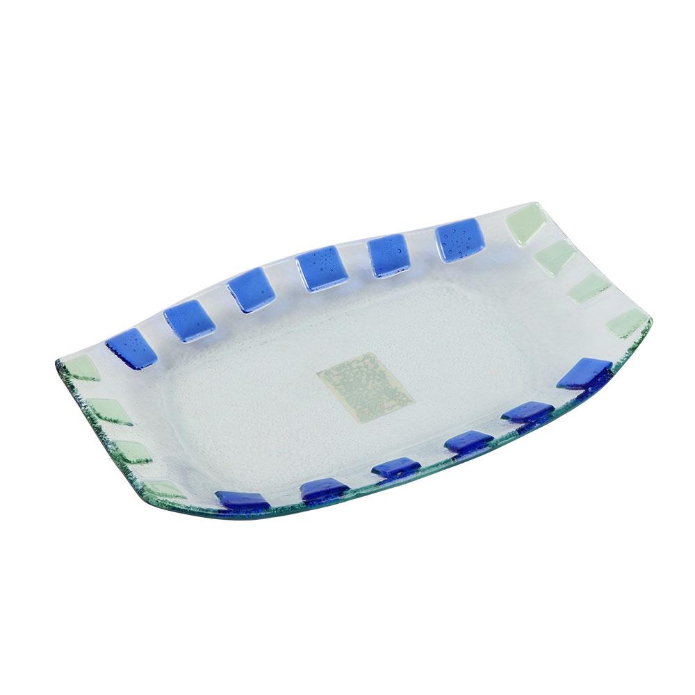 صحن زجاج مستطيل بمربعات بالوان الأزرق مقاس 26×16 سم متجر 15 وأقل