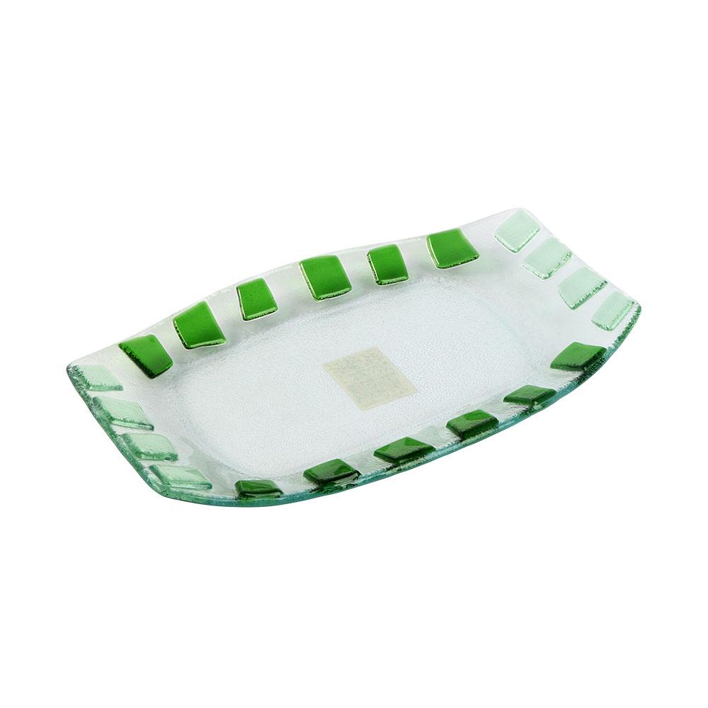 صحن زجاج مستطيل بمربعات بالوان الأخضر مقاس 26×16 سم متجر 15 وأقل