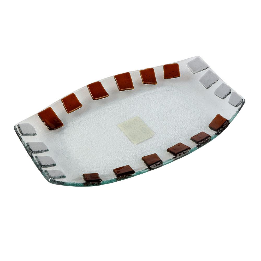 صحن زجاج مستطيل بمربعات بالوان البني مقاس 26×16 سم متجر 15 وأقل