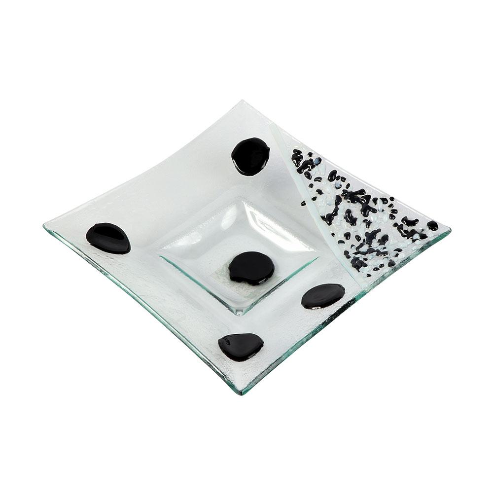 صحن زجاج مربع بدوائر بالوان الأسود مقاس 18 سم متجر 15 وأقل